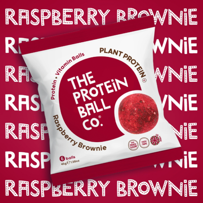 plant protein ball raspberry brownie